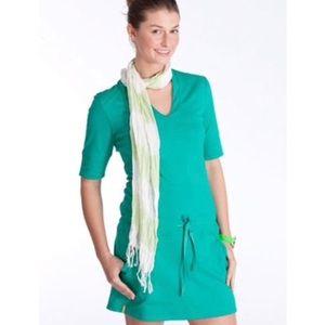 Lole Green Drop Waist Drawstring Athleisure Dress